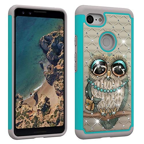 Case Hard Bling Plastic (NVWA Compatible Google Pixel 3 Case [Heavy Duty] Tough Dual Layer 2 in 1 Rugged Rubber Hybrid Hard Plastic Soft TPU Impact Back Protective Cover Coloured Drawing with Bling Diamond - Grey Cat)