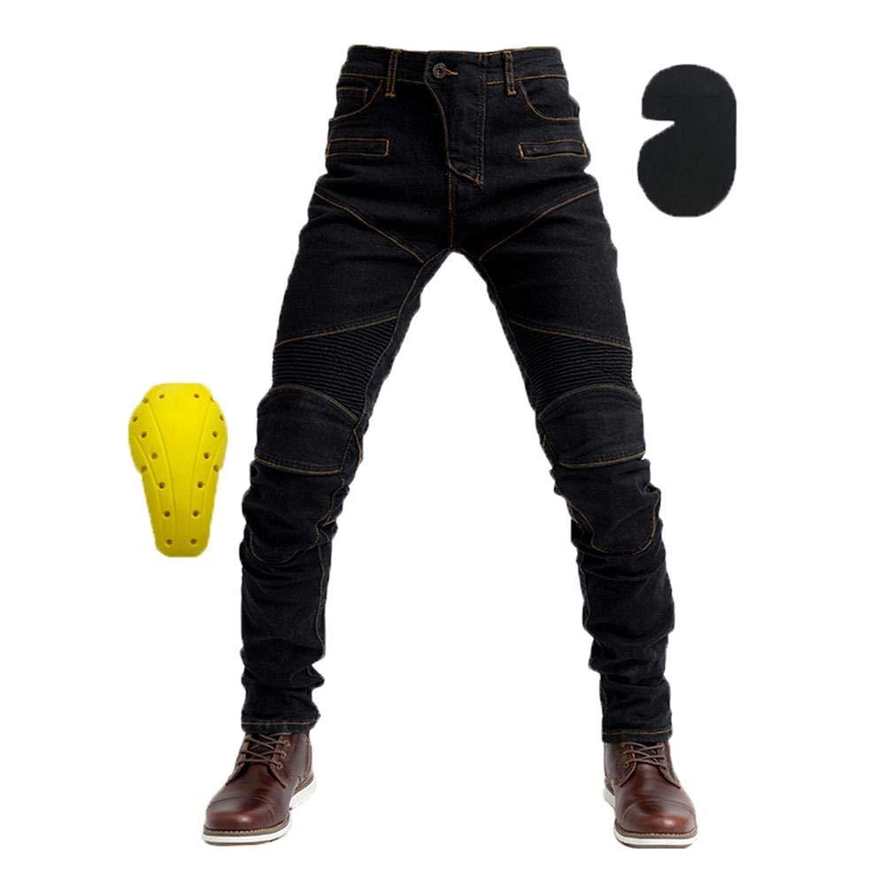 WildBee Pour des Hommes Motocross Noir Jeans Hors Route Courses Un pantalon Avec Coussinets de Protection Amovibles