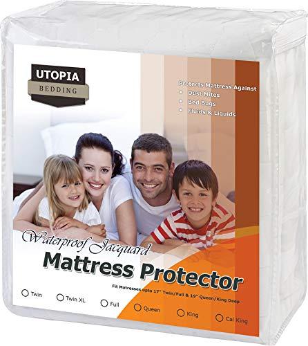 Utopia Bedding Premium Waterproof Mattress Pad - Fitted Mattress Protector - Jacquard Mattress Cover (Queen) ()