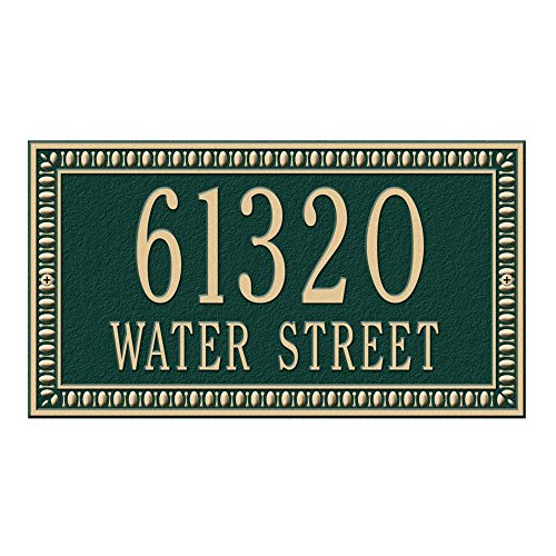 (Whitehall Products Egg and Dart Rectangular Green/Gold Standard Wall Two Line Address Plaque)