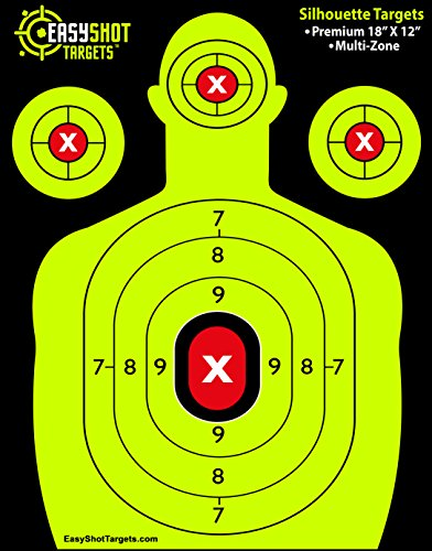 EasyShot SHOOTING TARGETS, High-Contrasting Green & Red Colors Make it Easy to See Your Shots Land, Heavy-Duty Silhouette Paper Sheets - 150 Free Repair Stickers, Close To Wholesale Prices.