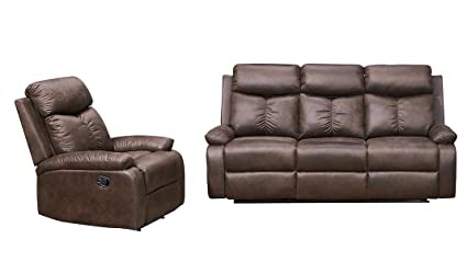 Surprising Betsy Furniture Microfiber Fabric Recliner Sofa Set Living Room Set In Brown 8065 Living Room Set 3 1 Machost Co Dining Chair Design Ideas Machostcouk