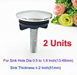 2 Units Universal Kitchen Sink Hole Cover, Made of Copper, for Plugholes from Dia 0.5 to 1.8 Inch(13-48mm) & Thickness 2 Inch(51mm)