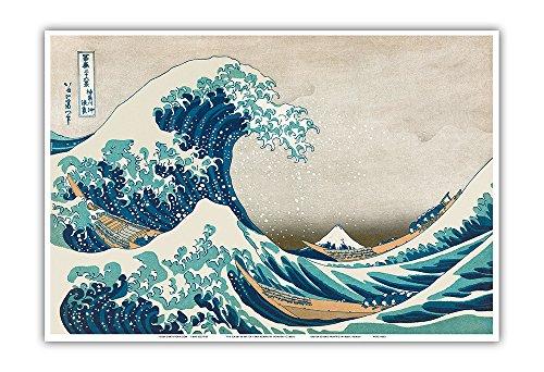 The Great Wave Off Kanagawa - Thirty-six Views of Mount Fuji - Ukiyo-e Woodblock Print by Hokusai c.1830s - Master Art Print - 13in x 19in