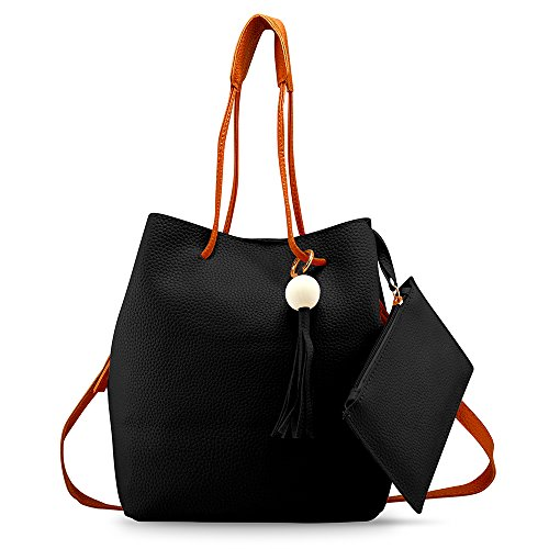 Oct17 Fashion Tassel buckets Tote Handbag, Women Messenger Hobos Shoulder Bags, Crossbody Satchel Bag - Black by OCT17 (Image #8)