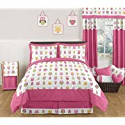 Sweet Jojo Designs 3-Piece Pink Happy Owl Childrens and Kids Full / Queen Girls Bedding Set