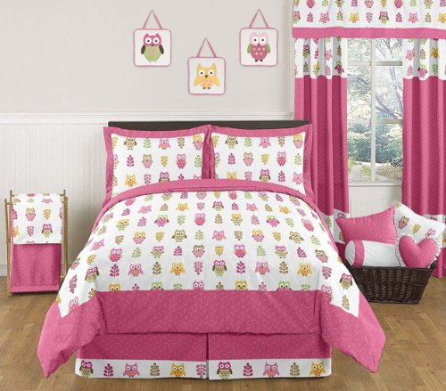 Sweet Jojo Designs Queen Kids Children's Bed Skirt for Pink Happy Owl Bedding Sets