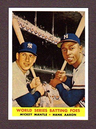 Mickey Mantle, Hank Aaron 1958 Baseball **World Series Batting Foes**Reprint Card (Yankees) (1993 Series World 1992)