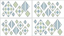 Argyle Green Blue Wall Decal Stickers by Sweet Jojo Designs - Set of 4 Sheets