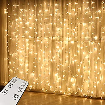 HONGM Curtain Lights, Upgrade Window Fairy Lights 300 LED Remote Control Timer 8 Lighting Modes, Window Icicle Xmas String Lights for Decor