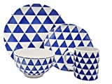 Melange Porcelain 32-Piece Dinnerware Set (Indigo Triangles) | Service for 8| Microwave, Dishwasher & Oven Safe | Dinner Plate, Salad Plate, Soup Bowl & Mug (8 Each)