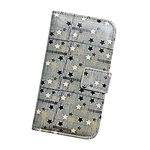 Fabcov Packing Bcov Black White Stars Style Leather Wallet Cover Case For iPhone 5 5G 5S