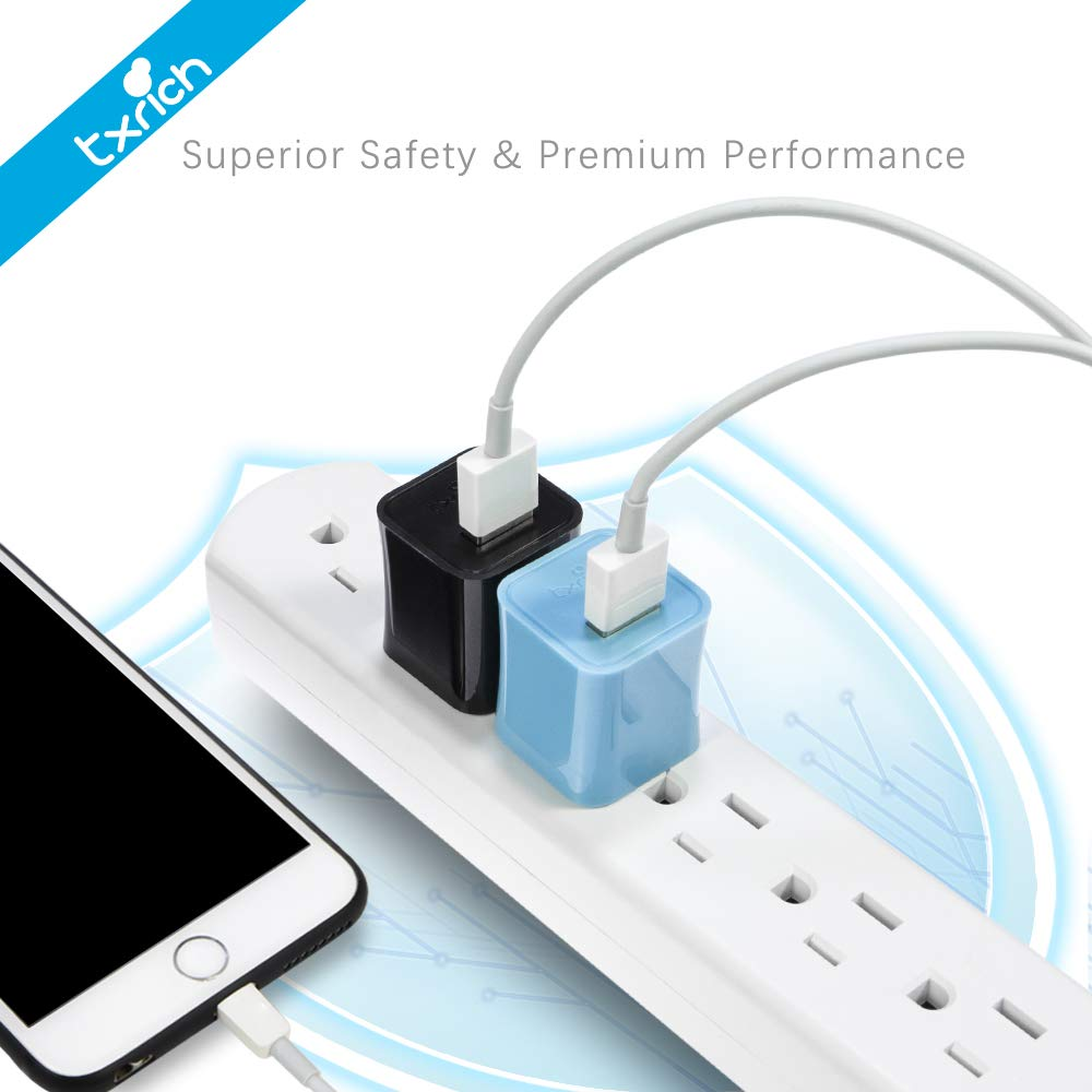 5V//1A 3-Pack Wall Adapter Brick Base Charging Block Charger Cube Plug Charger Box. Txrich USB Wall Charger ETL Listed White