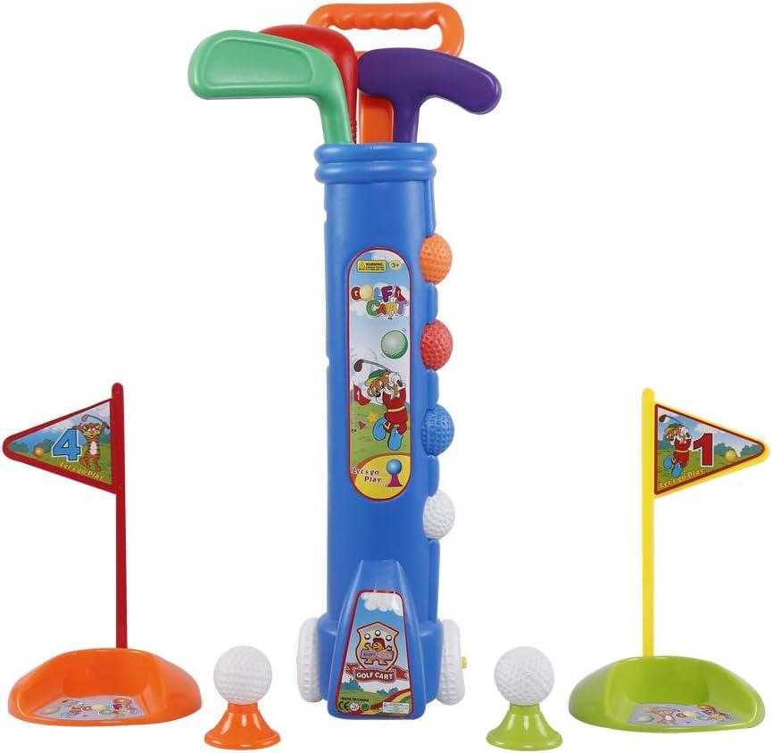 Liberry Kids Golf Clubs Set, Golf Toy with Golf Cart, 3 Golf Clubs, 2 Practice Holes, 2 Golf Tees