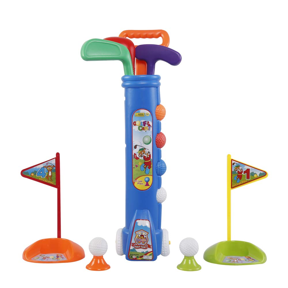 Liberry Kids Golf Clubs Set, Golf Toy with Golf Cart, 3 Golf Clubs, 2 Practice Holes, 2 Golf Tees & 6 Balls, Early Educational, Outdoors Exercise Toy for Kid Ages 2, 3, 4, 5, 6 Years Old, Boys & Girls