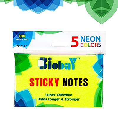BIOBAY Self Stick Note Pads| Super Sticky, Holds Longer & Stronger