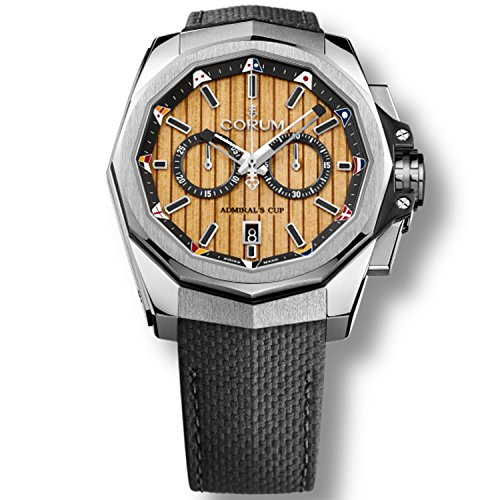 Corum Admiral's Cup Ac-One 45 116.101.20/F249 TB20 45mm Automatic Stainless Steel Case Black Calfskin Anti-Reflective Sapphire Men's Watch