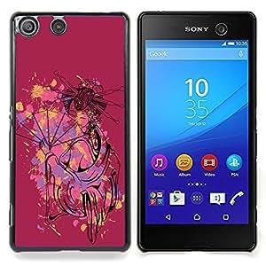"""Qstar Arte & diseño plástico duro Fundas Cover Cubre Hard Case Cover para Sony Xperia M5 E5603 E5606 E5653 (La mujer atractiva linda geisha"""")"""