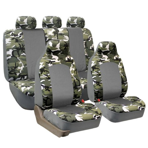 FH GROUP FH-FB108115 Full Set Camouflage Car Seat Covers, Airbag compatible and Split Bench, 2 Tone Light Camo- Fit Most Car, Truck, Suv, or Van by FH Group