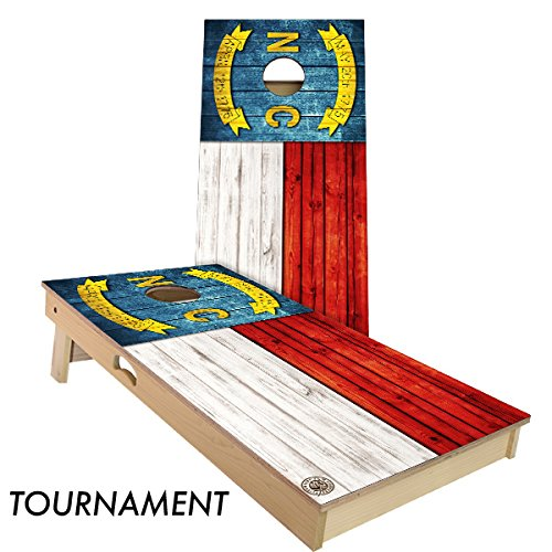 Rustic State Flag 4 by 2 feet Regulation Size Cornhole Boards Sets; 100% USA Made | Slick Woody's Cornhole Company (Full Color North ()