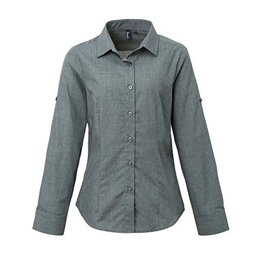 Premier Womens/Ladies Poplin Cross-Dye Roll Sleeve Shirt (XS) (Gray Denim)