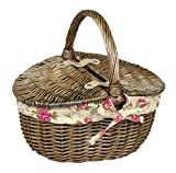 Small Antique Wash Double Lidded Oval Picnic Basket Garden Rose Lining