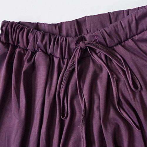 Pantalon Pantalon Femmes Taille Casual Harem Pilates Couleur Sarouel Plus Yoga Amuster Mesdames La Unie Lâche Violet y8vmNn0wO