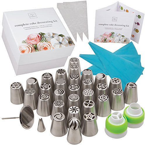 Deluxe Russian Piping Tips 76 Piece Set Complete Kit for Cake Decorating | Includes 29 Icing Tip Leaf Tip, 3 Reusable Couplers, 3 Silicone Bags and 40 Disposable Bags in Beautiful Box