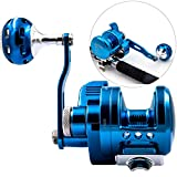 Cheap SANLIKE Trolling Fishing Reels Jigging Reel High Grade Aviation Aluminum Forging Max Drag Force 61 LB Line Roller Smoothly for Saltwater sea boating Fish Blue Color
