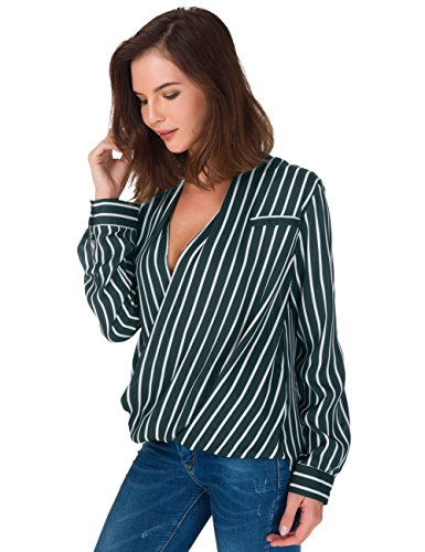 ual Striped Chiffon Blouses Loose Wrap Front Surplice Long Sleeves Shirt (XL, Green) (Green Surplice)