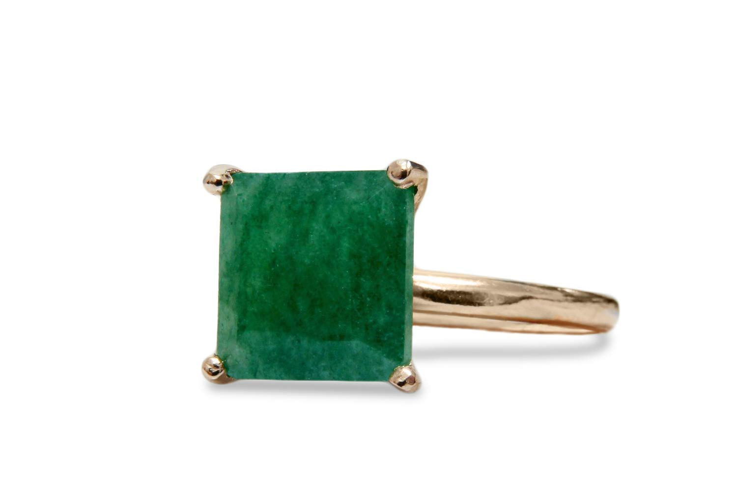 14K Solid Gold /& Sterling Silver Ring With Aventurine Gem