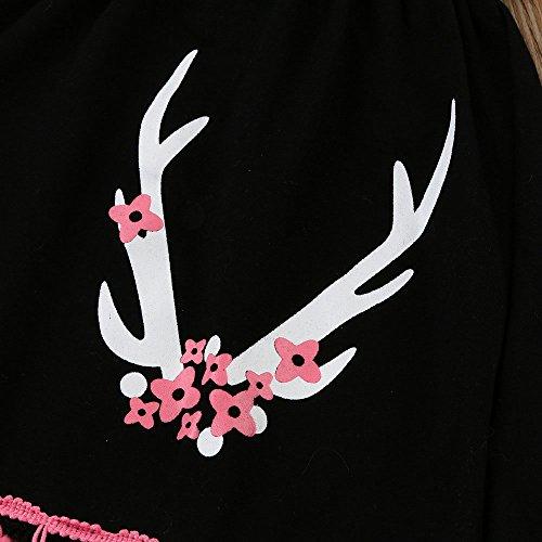 (プタス)Putars ベビー服 子供服 女の子 ワンピース 上下セット ズボン付き 長袖 鹿柄 タッセル付き 可愛い 秋冬 オシャレ 通園 発表会 旅行 記念日 プレゼント 12ヶ月-5歳