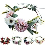 Handmade Adjustable Flower Wreath Headband Halo Floral Crown Garland Headpiece Wedding Festival Party