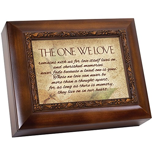 Cottage Garden in Memory They Live On in Our Hearts 9.5 x 8 inch Wood Finish Ashes Memorial Urn Box