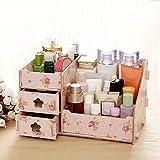 yodaliy Cosmetic Organizer, Wooden Double Drawer DIY Cosmetic Make up Collection Organizer, Jewelry Storage Box Desktop Box, Space Saving Storage Box Women Girls(Camellia Flower)