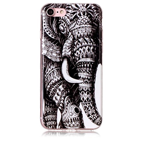 "Coque iPhone 7, IJIA Ultra-mince Eléphant TPU Doux Silicone Bumper Case Cover Coque Housse Etui pour Apple iPhone 7 (4.7"") + 24K Or Autocollant"