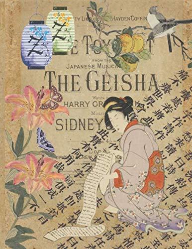 Multipurpose Composition Notebook - Vintage Japanese Art Collage - Woman With Scroll: Layered Flowers, Lanterns and Japanese Script With College Ruled Lined Pages