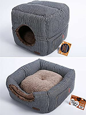 "Unique 2-in-1 Cat Bed / Cat Condo & Cat House | A Cat Cube With Thick Organic Cotton, Plush Sherpa Lining and Side Pocket for Small Toys | 13"" x 13"" x 13"" by Smiling Paws Pets"