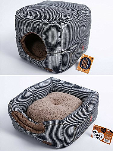 Self Warming Cat Bed and Cube: Unique 2 in 1 Design | Thick Organic Cotton with Plush Sherpa Lining and Side Pocket for Small Toys | 13