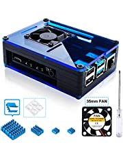 Miuzei Case for Raspberry Pi 4 with 35mm Cooling Fan, 4 pcs Aluminum Heat Sink for Raspberry Pi 4 Model B (Black/Blue)