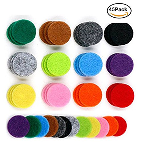 GIONO Replacement Felt For 30 mm Essential Oil Diffuser Locket Pendant Necklace, 45pcs -