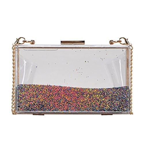 MMS Design Studio Ariel Clutch Bag: Multicolor - Light Gold CLS-49212