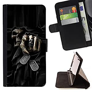 For LG G4 H815 H810 F500L Death Grim Reaper Skull Evil Style PU Leather Case Wallet Flip Stand Flap Closure Cover