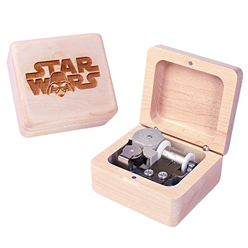 Sinzyo Handmade Wooden Star Wars Music Box Wood Carved Mechanism Musical Box Gift for Christmas Valentine's Day, -