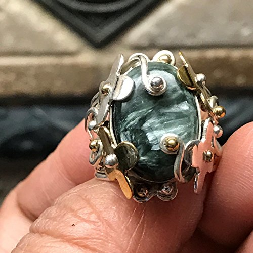 (Genuine Russian Seraphinite 925 Solid Sterling Silver Victorian Ring sz 5.75, 6, 6.75, 7.75)