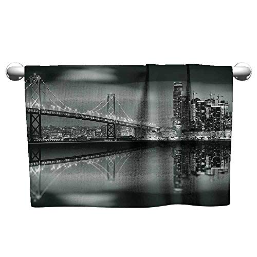 DUCKIL Cotton Craft Hand Towels Black and White Decorations San Francisco Bay Bridge Metropolis Panorama Skyscrapers Fitness Sheet 23 x 8 inch Black Grey White