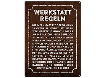 sprüche werkstatt Metallschild 28x20cm WERKSTATT REGELN Wandschild Garage Hobbyraum  sprüche werkstatt