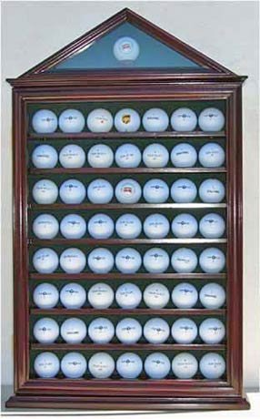 57 Golf Ball Display Case Shadow Box Wall Cabinet Holder Rack w/ 98% UV Protection (Mahogany)