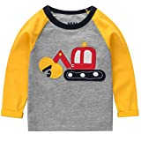 Frogwill Toddler Boys Excavator Long Short Sleeve Cartoon T Shirt Size 2-7 Years (3T, Yellow)