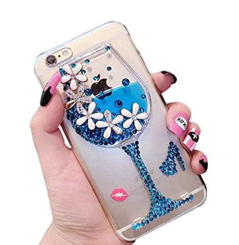 Htc Diamond Design Snap (Dreams Mall(TM)Night Style Liquid Bottle Design with Flower & Diamond Hard Case Cover Protection for Apple iPhone 6 4.7 inch-Blue)